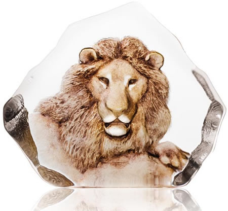 Crystal Lion Statue With Color
