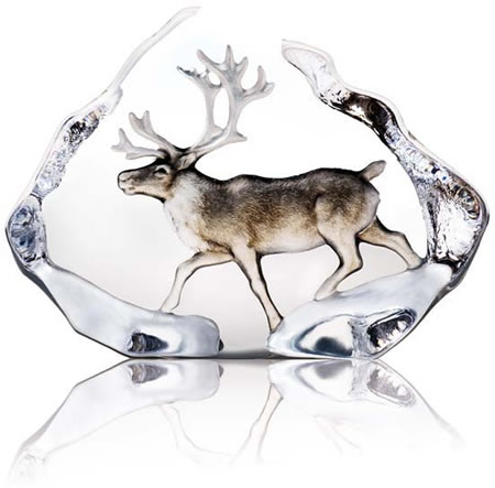 Crystal Reindeer Statue With Color