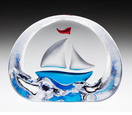 Crystal Sailboat Figurine