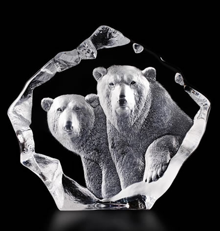 Crystal Polar Bears Sculpture