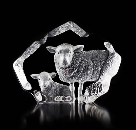 Crystal Sheep with Lamb Statue