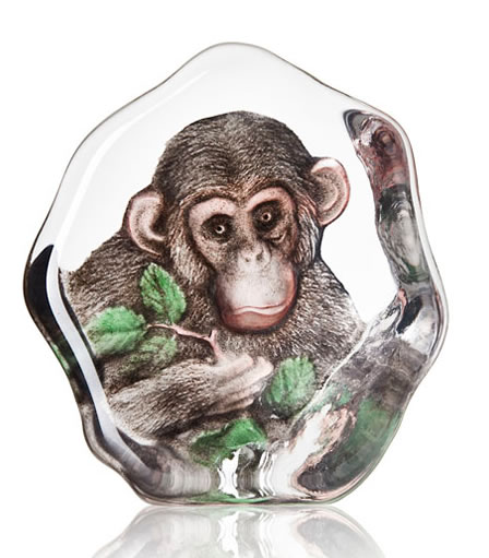 Crystal Chimpanzee with Leaves Statue