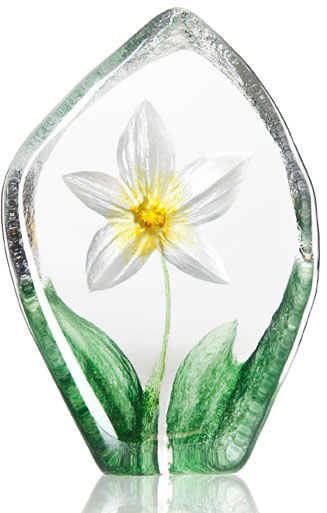 Windflower Crystal Statue- White/Yellow