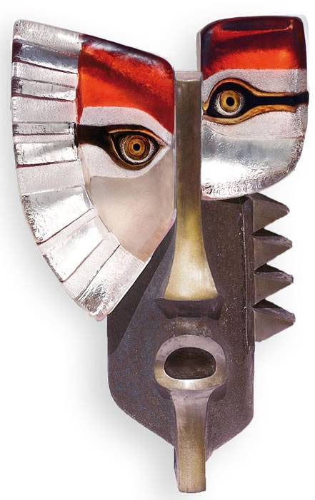 Urik II- Crystal & Bronze Wall Mask, Red