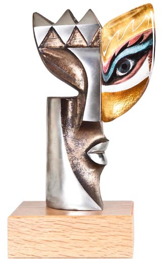 Iron Lady II Crystal Mask Sculpture