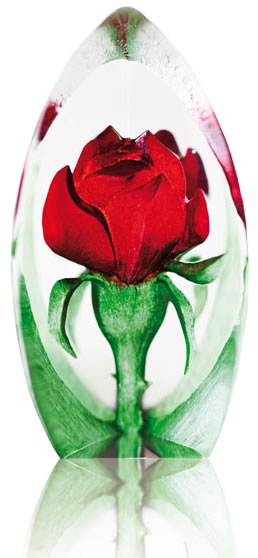 Blooming Red Rose Crystal Figurine- Mini