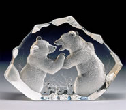 Crystal Fighting Bears Sculpture, Large