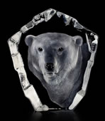 Crystal Polar Bear Head Sculpture