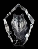 Crystal Wolf Head Sculpture
