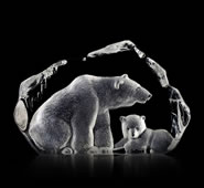 Crystal Polar Bear & Cub Sculpture