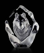Crystal Wolf in Snow Statue