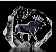 Crystal Moose In Woods Statue
