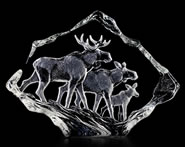 Crystal Moose Family Sculpture
