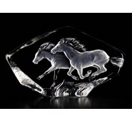 Crystal Running Horses Sculpture