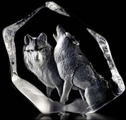 Pair of Wolves Crystal Statue