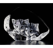 Curious Cats Crystal Figurine