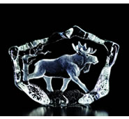 Walking Moose Crystal Statue