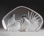 Crystal Rooster and Hen Sculpture