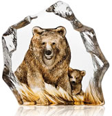Brown Bear Crystal Sculpture With Color