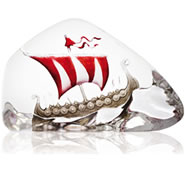 Crystal Viking Ship Statue, Red