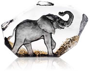 Walking Elephant Crystal Sculpture With Color