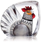 Crystal Rooster Figurine With Color