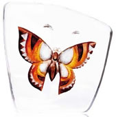 Crystal Butterfly Figurine- Brown/Orange, Large