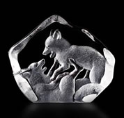 Playing Fox Cubs Crystal Statue