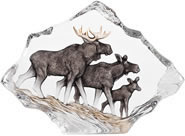 Moose Family Crystal Sculpture
