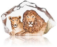 Lion Couple Crystal Sculpture, Limited Edition