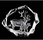 Reindeer with Calf Crystal Sculpture
