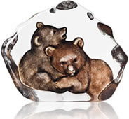 Bear Cubs Crystal Sculpture