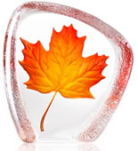 Crystal Red Maple Leaf Statue