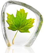 Crystal Green Maple Leaf Statue