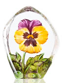 Pansy Crystal Flower Statue- Yellow/Purple