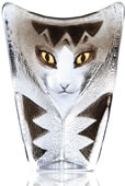 Crystal Cat Statue Grey/Black- Small
