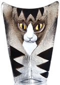 Crystal Cat Statue Grey/Black- Large