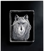 Wolf- Framed Crystal Wall Sculpture