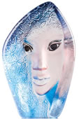 Crystal Blue Fleur Mask Sculpture