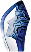 Crystal Amazona Mask Sculpture, Blue