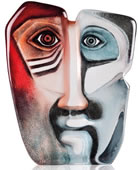 Crystal Domino Mask Sculpture, Blue/Red