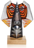 Crystal Benghali Tiger Sculpture, Orange