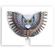 Look Out Owl- Iron and Crystal Sculpture