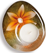 DeLight Crystal Flower Votive/Tea Light, Yellow