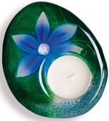DeLight Crystal Flower Votive/Tea Light, Blue