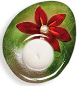 DeLight Crystal Flower Votive/Tea Light, Red