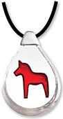 Dalecarlia Horse Crystal Necklace, Red