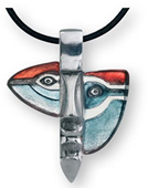 Atle Crystal Mask Necklace, Blue/Red