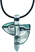 Atle Crystal Mask Necklace, Gray/Blue