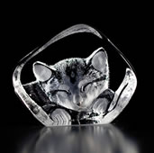 Crystal Sleepy Cat Figurine